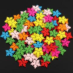 100stk Holz Schneeflocke Blumen Buttons Sewing DIY Fertigkeit 2 Löcher