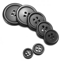 10Pcs 4 Holes Black Round Resin Buttons Sewing Crafts Button 7 Sizes