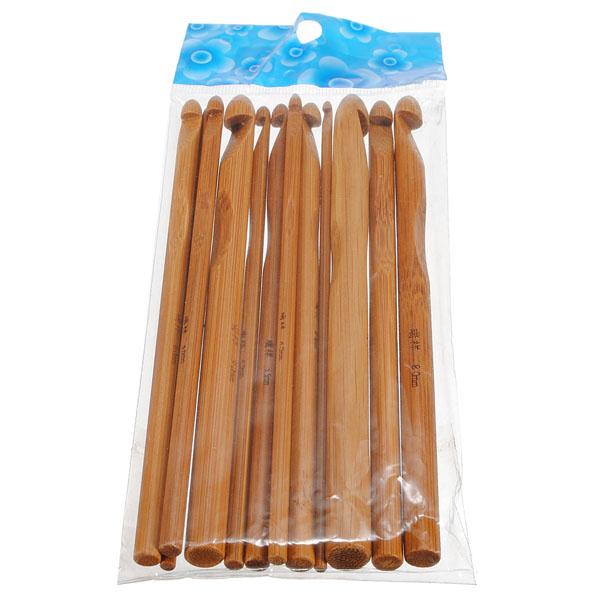 12 Bamboo Handtag Virknålar Needle Set Hemtextil