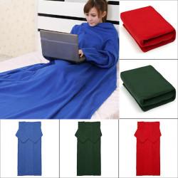 175 * 130cm Varm Bløde Dobbelt-sidet Plush Tøj Blanket med Ærmer