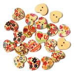 20stk mischte Heart Shaped Druckmuster Holzhandwerk Buttons Heimtextilien