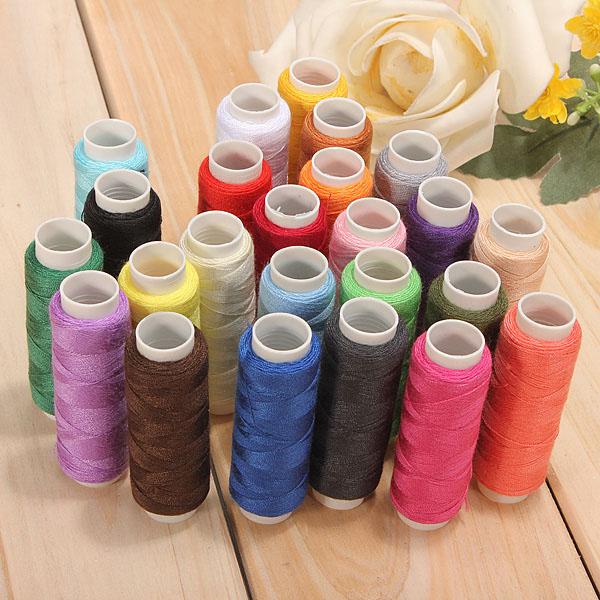 24 Farben Baumwoll Nähgarn Spulen Nähmaschine Zubehör Heimtextilien
