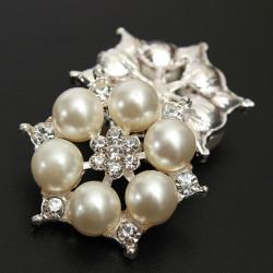 2stk Sekskantet Blomst Rhinestone Ivory Perle Button