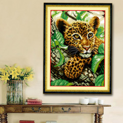 30x38cm DIY Cross Stitch Kit Baby Leopard Embroidery Home Decor