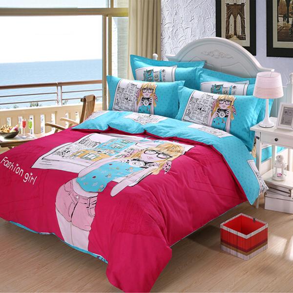 3Pcs Suit Cotton Fashion Girls Reactive Printed Bedding Sets Home Textiles