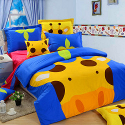 3Pcs Suit Cotton Giraffe Cartoon Children Reactive Bedding Sets