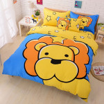 3Pcs Suit Cotton Leo Cartoon Children Reactive Printed Bedding Sets Home Textiles