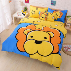 3Pcs Suit Cotton Leo Cartoon Children Reactive Printed Bedding Sets