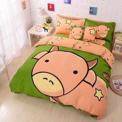 3Pcs Suit Cotton Tauri Cartoon Children Reactive Printed Bedding Sets