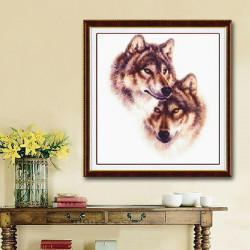 42x45cm DIY Kreuzstich Kit Stickerei Wolf Totem Wohnkultur