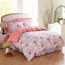 4Pcs Suit Cotton Rural Rose Flowers Reactive Printed Bedding Sets