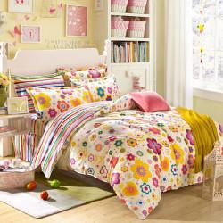 4Pcs Suit Cotton Rural Style Flowers Reactive Printed Bedding Sets