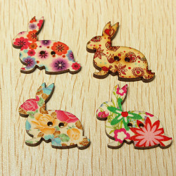 50Pcs Mixed Rabbit Wooden Buttons Sewing Scrapbook Craft 2 Holes