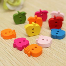 50pcs Colorful Wooden Apple Shape Children Garment Buttons