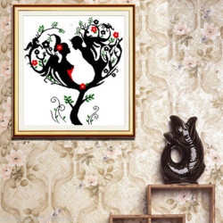 55x57cm DIY Hand Love Tree Kreuzstich Kit Home Decor