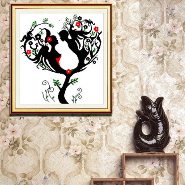 55x57cm DIY Needlework Love Tree Cross Stitch Kit Home Decor Home Textiles