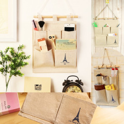 5 Pocket Eiffel Tower Storage Bag Home Wall Hanging Organizer