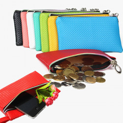 6 Colors Lady Women Coin Purse Key Phone MP3 PU Wallet
