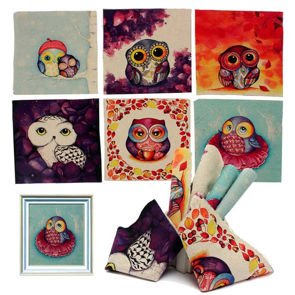 6pcs Cute Owl Printed Square Linen Fabric DIY Sewing Cotton Cloth Home Textiles