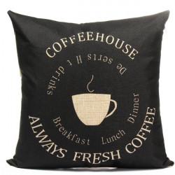 Black Coffee Kopp Mönster Home Kontor Bil Bomull Linen Örngott Kuddfodral