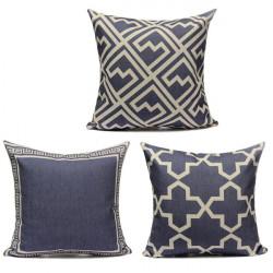Blue Geometric Figure Printing Cotton Linen Home Office Pillow Case