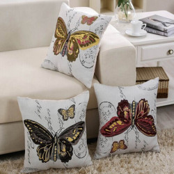 Butterfly Embroidery Pattern Home Office Car Seat Pillow Case
