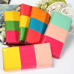 Süßigkeit Farben Dame Frauen Mappe PU Leder Handtasche Lang Handtaschen