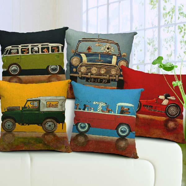 Cartoon Cute Dog Driving Cotton Pillow Case Home Office Pillowcase Home Textiles