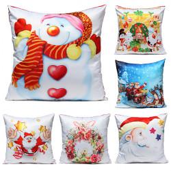 Christmas Linen Cotton Throw Pillow Case Sofa Home Car Cushion Cover