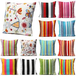 Farverige Stripes Pudebetræk Soveværelse Decor Pudebetræk