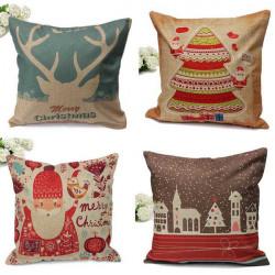 Cotton Linen Christmas Print Home Decoration Pillow Case
