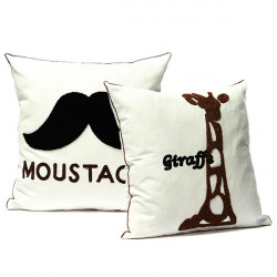 Cotton Moustache Giraffe Pattern Pillow Case Home Office Decor