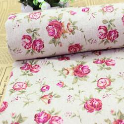 Bomull Rose Tryck Tyg Hantverk DIY Sömnad Cloth