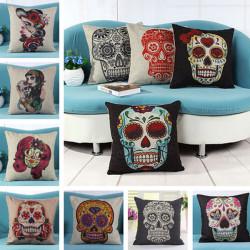Creative Skull Pude Cover Linen Bomuld Vintage Decor Pudebetræk