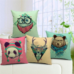 Cute Animal Panda Owl Deer Bear Pattern Home Car Cotton Pillowcase