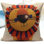 Cute Cartoon Lion pattern Cotton Linen Home Office Pillow Case Home Textiles