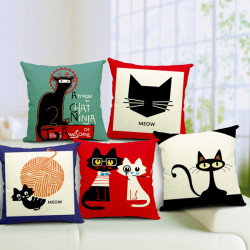 Cute Cartton Cat Print Pillow Case Cotton Linen Pillowcase