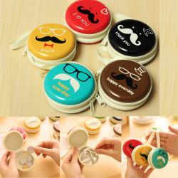 Cute Portable Mustache Coin Case Key Earphone Wallets Pouch