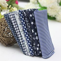 Mørkeblå 7 Assorted Bomuld Patchwork Fabric Square Quilting Set
