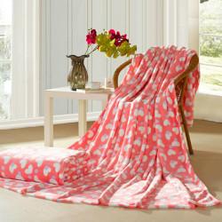 Flannel Coral Blanket Pink Heart Bedding Sheet Winter Quilt Flat