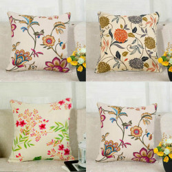 Flower Print Pillow Cover Cotton Canvas Home Office Car Cushion Cover