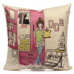 Girl Wardrobe Pattern Cotton Linen Sofa Bed Car Pillow Case