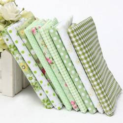 Grön Series 9 Blandade Printed Bomull Quilting Tyg Set