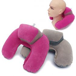 Uppblåsbar U Shape Nackkudde Flockning Home Resa Kontor Pillow