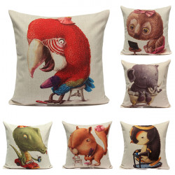 Linen Animals Sofa Throw Pillow Case Cushion Cover Home Decor