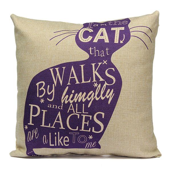 Linen Cartoom Cats Throw Pillow Case Cushion Cover Home Decor Home Textiles
