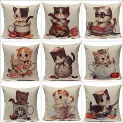 Leinen Nette Katzen Kissenbezug Ausgangsweiche Dekor Kissenbezug