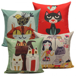 Linen Lovely Cats Pillow Case Home Soft Decor Cushion Cover