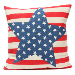 Leinen Stars And Stripes Flagge Werfen Kopfkissenbezug Sofakissenbezug
