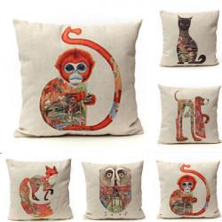 Linen Vintage Animal Pillow Case Waist Throw Sofa Cushion Cover